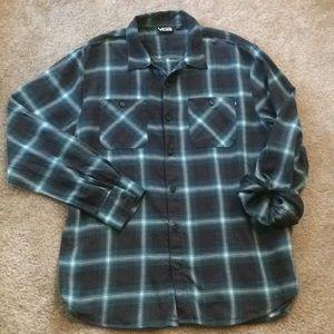 Vans men's blue plaid flannel shirt size large
